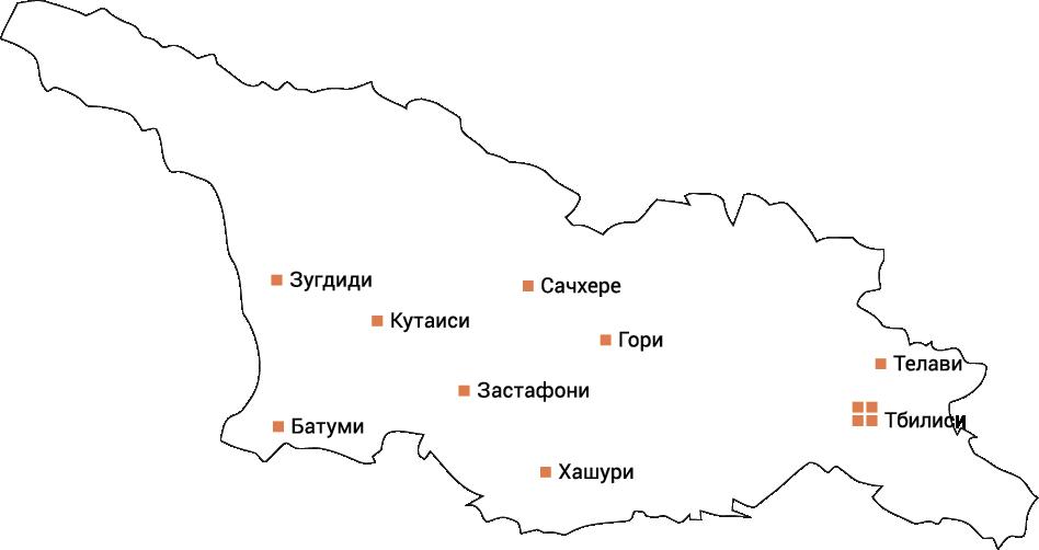 Сеть АГНКС, оборудование для АГНКС, АГНКС в Грузии, карта АГНКС