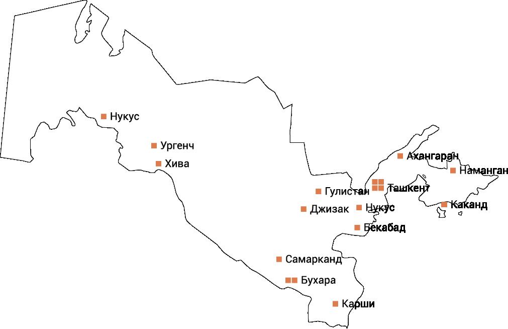 Сеть АГНКС, оборудование для АГНКС, АГНКС в Узбекистане, карта АГНКС