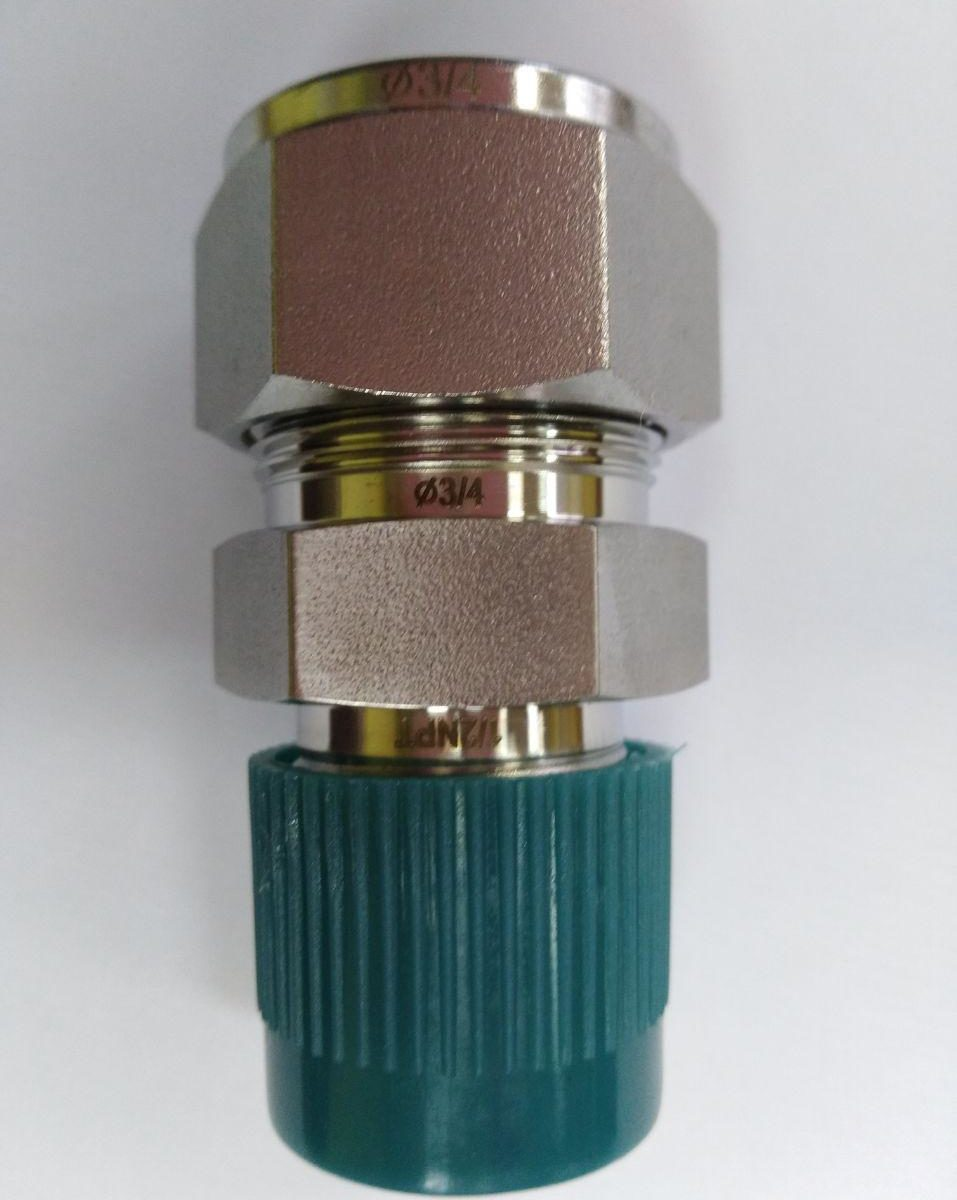 "1/2"" NPTM x 3/4"" tube straight connector"