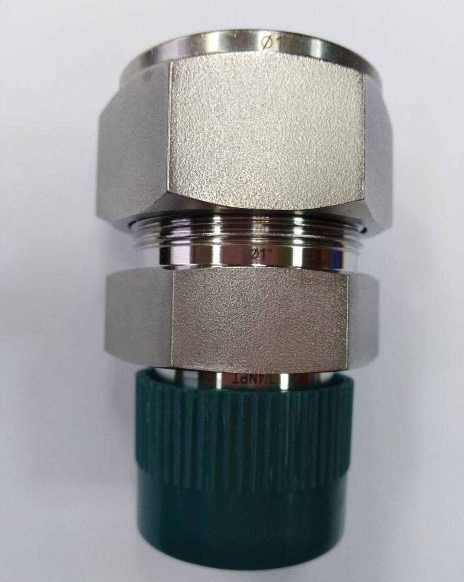 "3/4"" NPTM x 1"" tube straight connector"